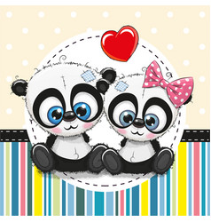 greeting card with two cartoon pandas vector image