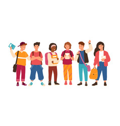 group of cute happy children or pupil isolated vector image