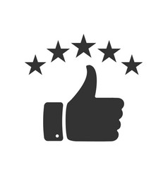 Hand with thumb up and stars icon for your design vector