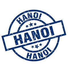 Hanoi blue round grunge stamp vector