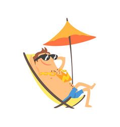 happy cartoon man sunbathing on a lounger with vector image