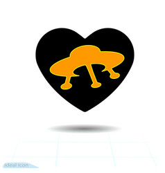 heart black icon love symbol ufo in heart vector image