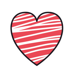 heart love with stripes valentines card vector image