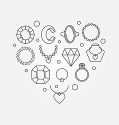 Heart shape made of jewelry icons vector