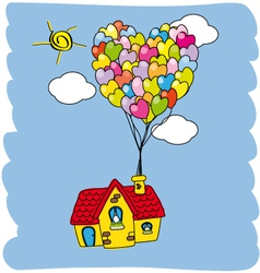 house flying with balloons vector image