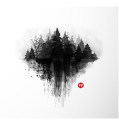 Ink wash painting with dark misty forest trees on vector