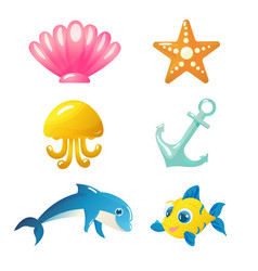 isolated underwater animals and elements vector image