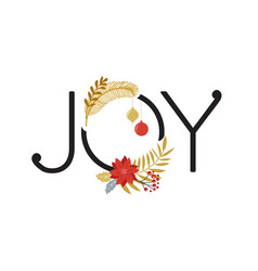 joy merry christmas card with lettering vector image