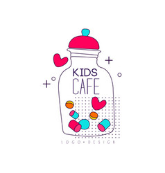 Kids cafe logo design bright badge label for vector