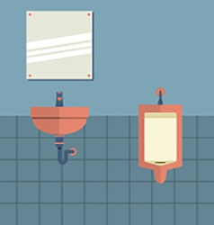 Lavatory With Mirror Beside Urinal vector image