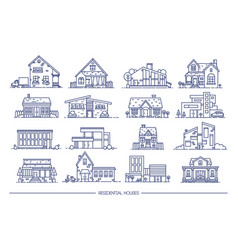 line art residential house collection set flat vector image