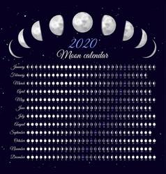 Lunar cycles at 2020 year vector