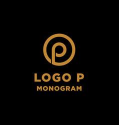 luxury initial p logo design icon element isolated vector image
