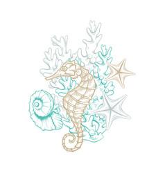 marine art line design sea life decoration design vector image