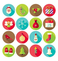 New Year Merry Christmas Circle Icons Set with vector image
