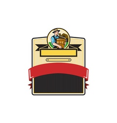 Organic Farmer Carry Basket Badge Retro vector
