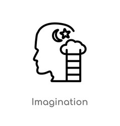 Outline imagination icon isolated black simple vector