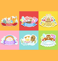 party template labels set of cute stickers vector image