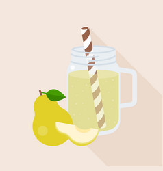 Pear smoothie in mason jar glass with ripe of pear vector