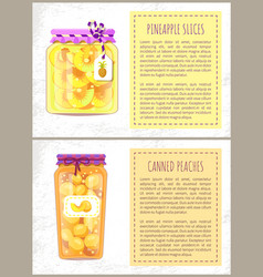 Pineapple slices and peaches vector
