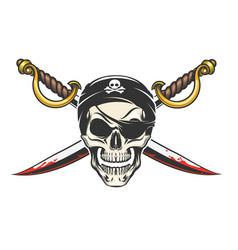 pirate skull with crossed sabres vector image