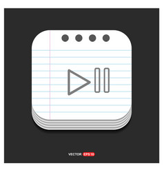 play pause icon gray icon on notepad style vector image