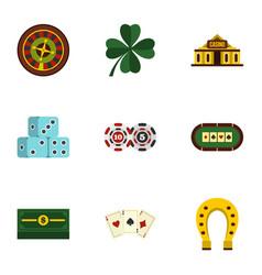 poker icons set flat style vector image