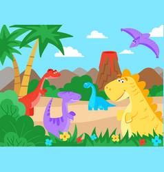 Prehistoric landscape cartoon dinosaur nature vector