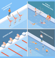 Public swimming pool isometric concept vector