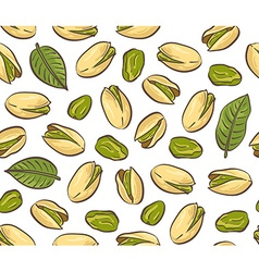 Roasted pistachio seed with shell Seamless pattern vector image