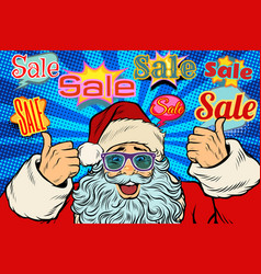 sale background with santa claus in funny glasses vector image
