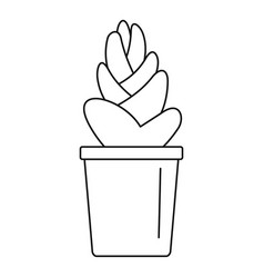 Sand cactus pot icon outline style vector