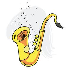 saxophone cartoon hand drawn image vector image