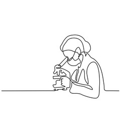 Scientist woman looking through microscope vector