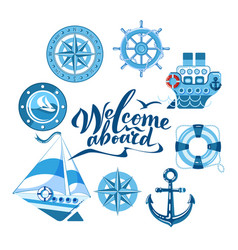 sea set of ship sailboat sea gear vector image
