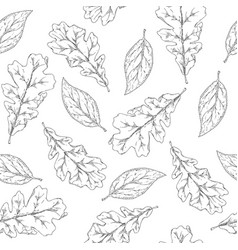 seamless pattern for coloring with autumn leaves vector image