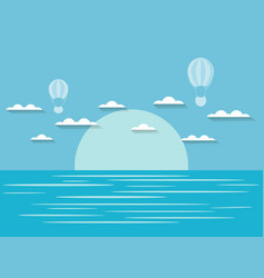 seascape with clouds and hot air balloon blue and vector image