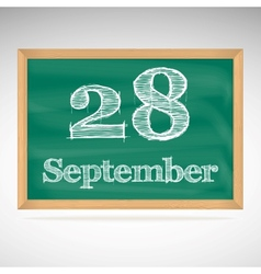 September 28 inscription in chalk on a blackboard vector