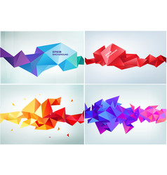 Set abstract geometric 3d facet shapes vector