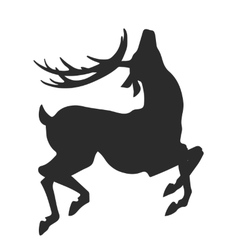 Simple black silhouette of jumping deer on the vector