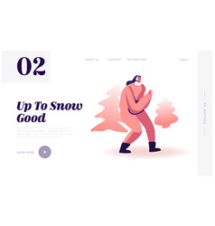 Snow ball fighting website landing page young vector