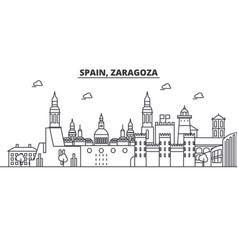 Spain zaragoza architecture line skyline vector