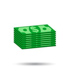 Stacks dollar cash in flat design on white vector