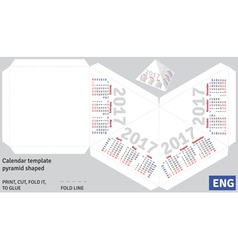Template english calendar 2017 pyramid shaped vector