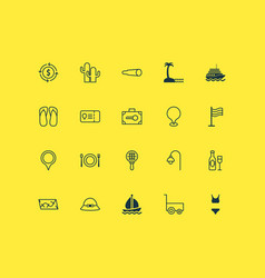 Tourism icons set with street light boat vector
