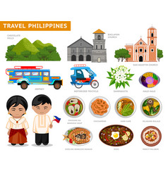 travel to philippines filipinos in national dress vector image