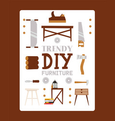 trendy diy furniture from wood material chair vector image