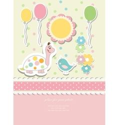 Vintage doodle baby card vector image