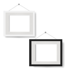 white picture frame set isolated white background vector image