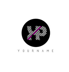 Xp letter logo design with white lines and black vector